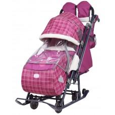 Ника Детям 7-4 санки-коляска Вишневый в клетку