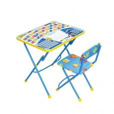 НИКА Набор мебели ПЕРВОКЛАШКА синий фон (стол+мяг стул) КУ1/12 h580