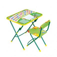 НИКА Набор мебели ПЕРВОКЛАШКА зеленый фон (стол+мягкий стул) КУ1/13 h580