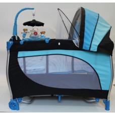Stiony Манеж-кровать В6102-2 сине-черный